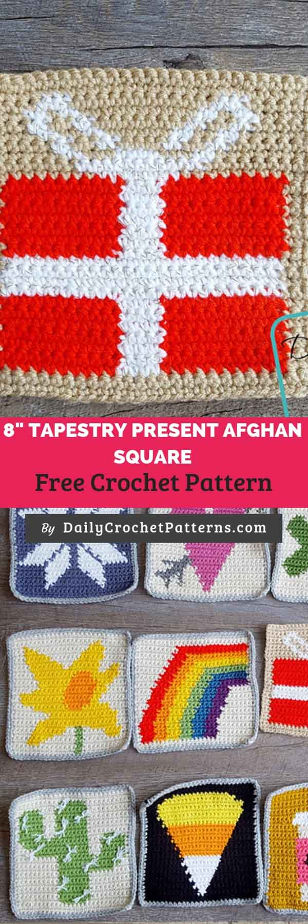 8 Tapestry Present Afghan Square Free Crochet Pattern Daily