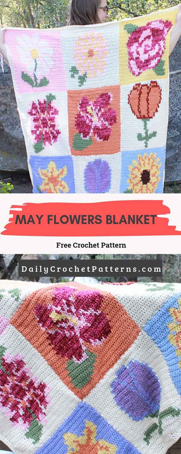 May Flowers Blanket Free Crochet Pattern